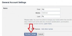 change facebook name PC
