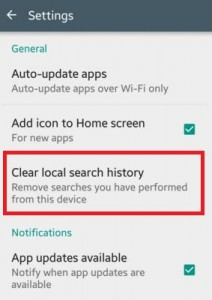 how to clear search history on google app
