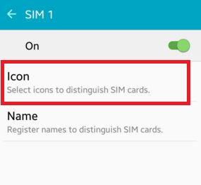Tap on Icon to change SIM card symbol