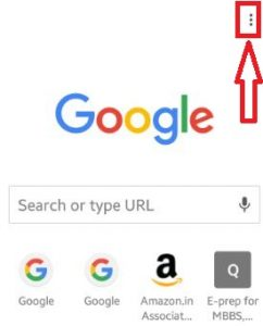 Tap on three vertical dots on chrome