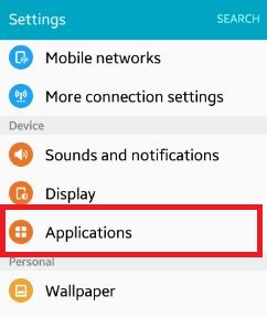 click on applications under device settings