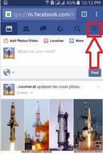 Tap on three horizontal line facebook