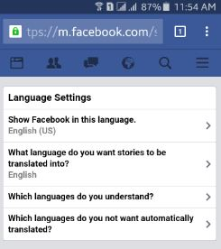 change facebook language android lollipop