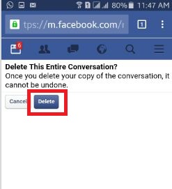 delete facebook entire chat history android phone