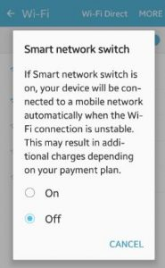turn off smart network switch android