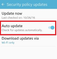 enable auto update security policy android