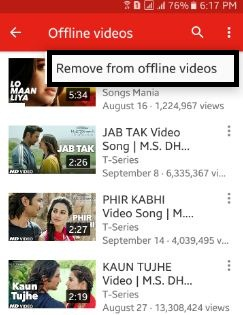 How to delete youtube offline video android phone or tablet