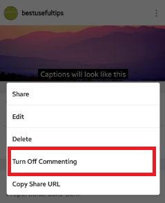 Tap on turn off commenting option