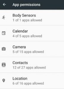 App permissions list on android 7.0