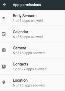 App permissions list on android 7.0