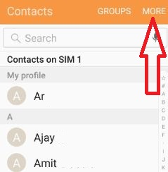 Contacts More option