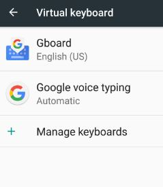 Gboard under virtual keyboard settings