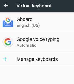 Gboard under virtual keyboard settings