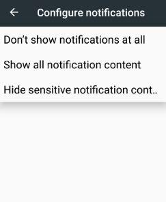 Hide sensitive notifications content lock screen