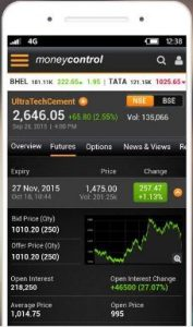 MoneyControl market app for android phone