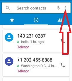 Tap on mode in contact app Nougat devices