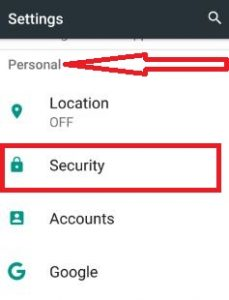 Tap on security under personal section