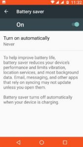 enable battery saver on android 7.0