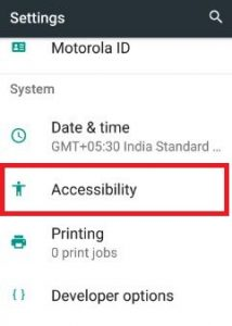 Accessibility under system sections