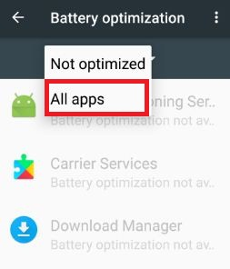 All apps for battery optimization in nougat 7.0