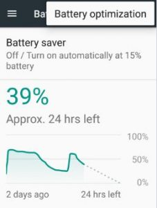 Battery optimization settings in android 7.0 Nougat