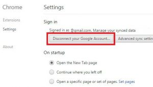Disconnect your Google account with Chrome browser