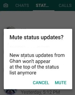How to mute WhatsApp status update android