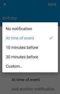 Set calendar event notification on moto G4 plus