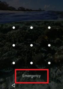 Tap on Emergency from android lock screen