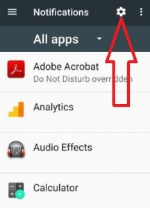 Tap on Settings gear icon on notifications