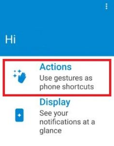 Tap on action in Moto app