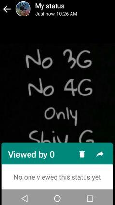 Viewed WhatsApp status update