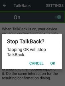 stop phone speaking android