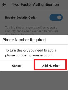 Add phone number to enable security