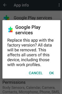Clear the cache of Google play services in nougat 7.0