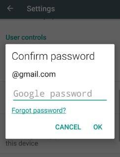 Enter Google Password in app purchases