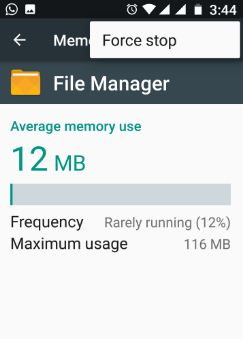 Force stop file manager in android phone