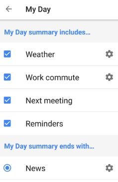 My day settings in Assistant
