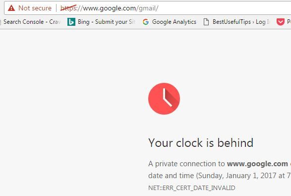 SSL error when Date and time incorrect