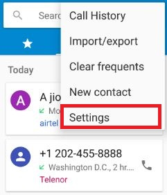 Settings in phone app