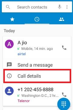 Tap call details in android nougat 7.0