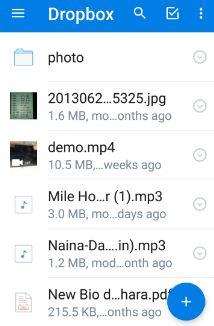 Tap on plus icon in Dropbox app