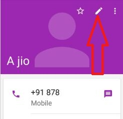 Tap pencil icon in contact number