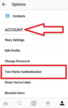 Two-factor authentication in instagram android