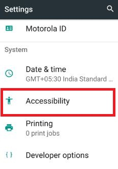 Accessibility settings in system for clean master