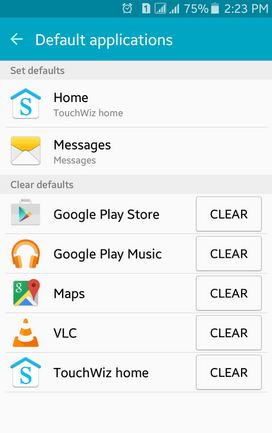 How to clear default apps on lollipop
