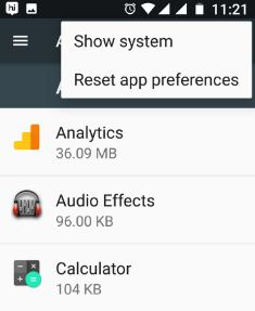 Reset app preferences in nougat to fix camera issue