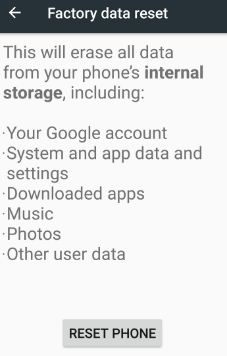 Reset phone to erase all android phone data