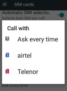 Set SIM call settings when calling someone
