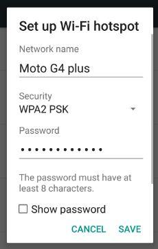 Set up wi-fi hotspot settings nougat phone 7.0